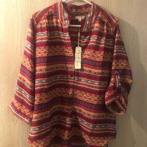 Antilia Femme Button Front Red Aztec Pattern Shirt